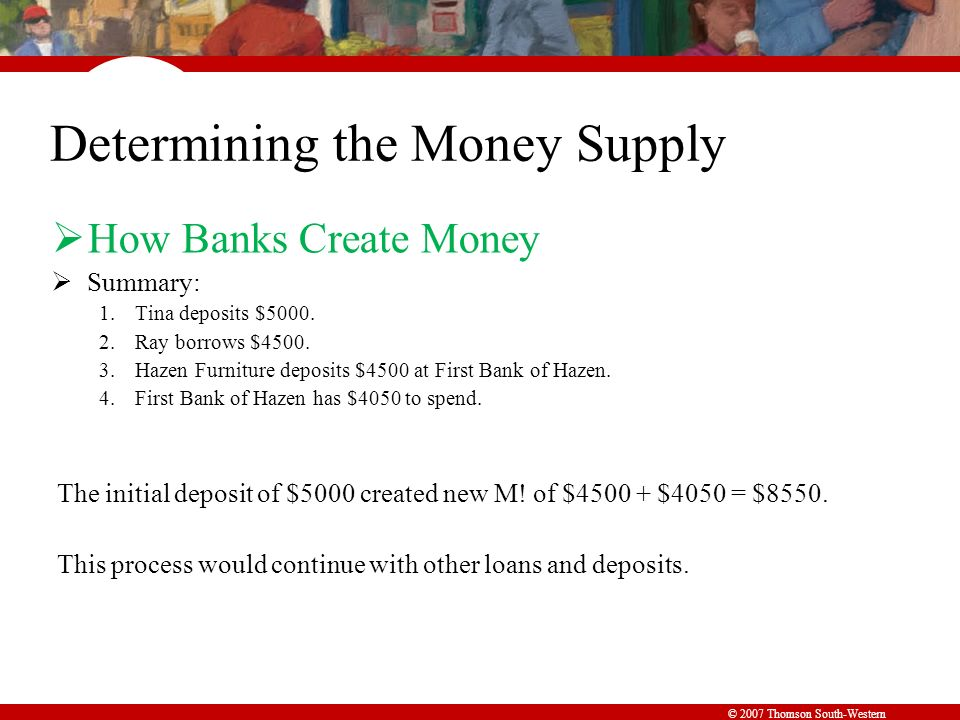 © 2007 Thomson South-Western Determining the Money Supply  How Banks Create Money  Summary: 1.Tina deposits $5000.