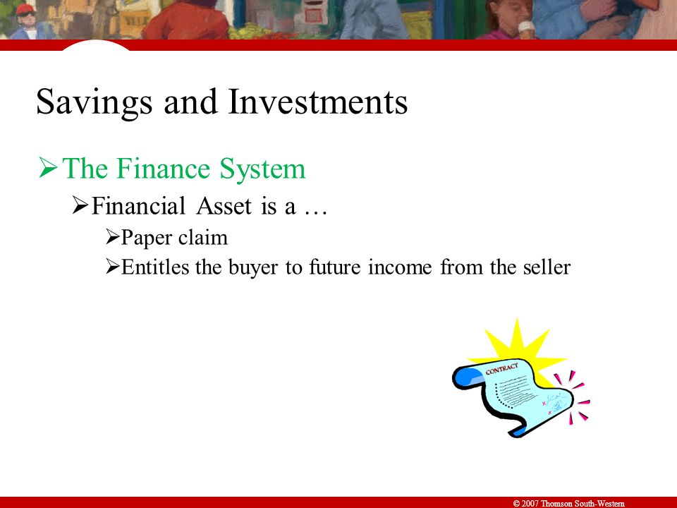 © 2007 Thomson South-Western Savings and Investments  The Finance System  Financial Asset is a …  Paper claim  Entitles the buyer to future income from the seller