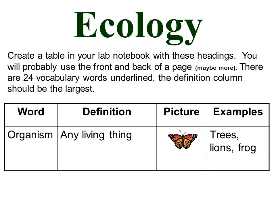 Ecology WordDefinitionPictureExamples OrganismAny living thingTrees, lions, frog Create a table in your lab notebook with these headings.