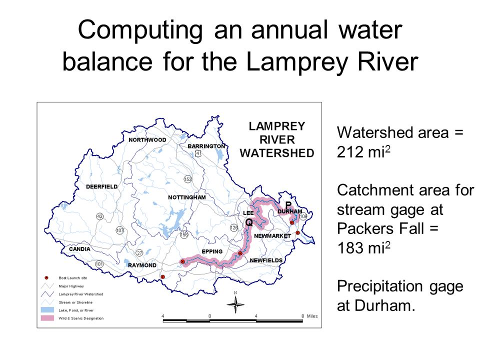Computing an annual water balance for the Lamprey River Q P Watershed area = 212 mi 2 Catchment area for stream gage at Packers Fall = 183 mi 2 Precipitation gage at Durham.