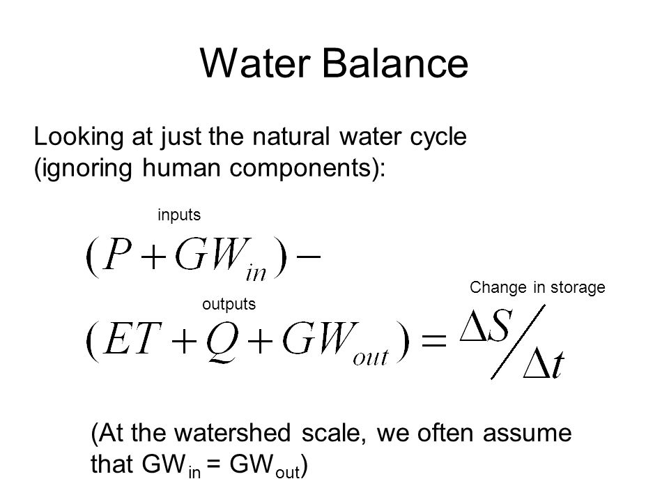 Water Balance Looking at just the natural water cycle (ignoring human components): (At the watershed scale, we often assume that GW in = GW out ) inputs outputs Change in storage