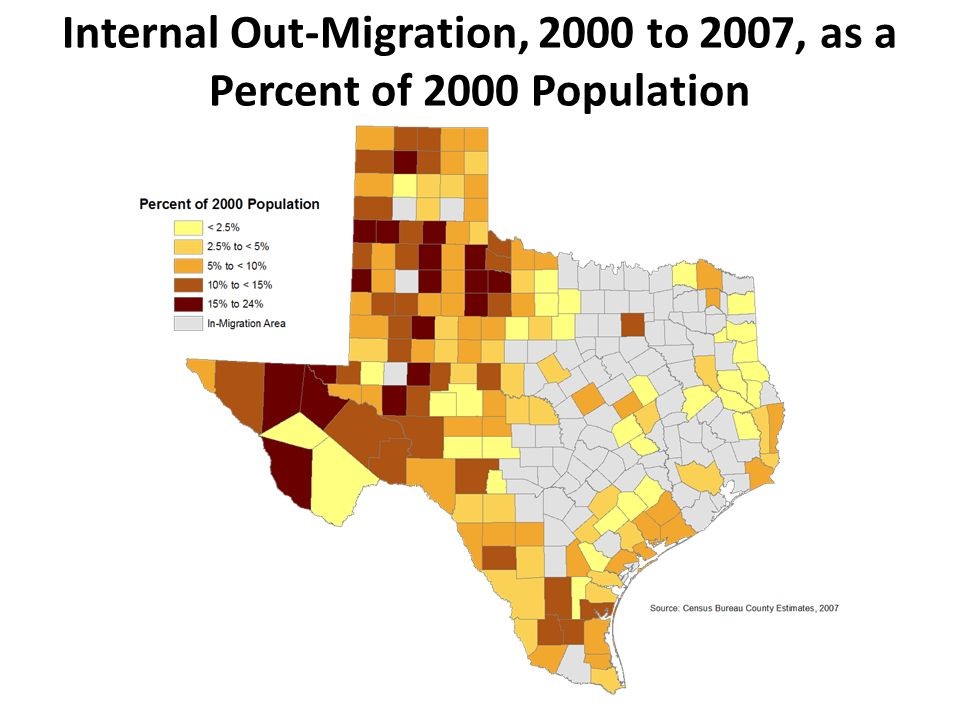 Internal Out-Migration, 2000 to 2007, as a Percent of 2000 Population