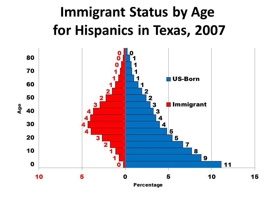Immigrant Status by Age for Hispanics in Texas, 2007