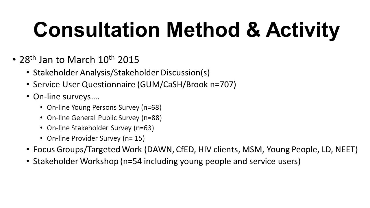 Consultation Method & Activity 28 th Jan to March 10 th 2015 Stakeholder Analysis/Stakeholder Discussion(s) Service User Questionnaire (GUM/CaSH/Brook n=707) On-line surveys….