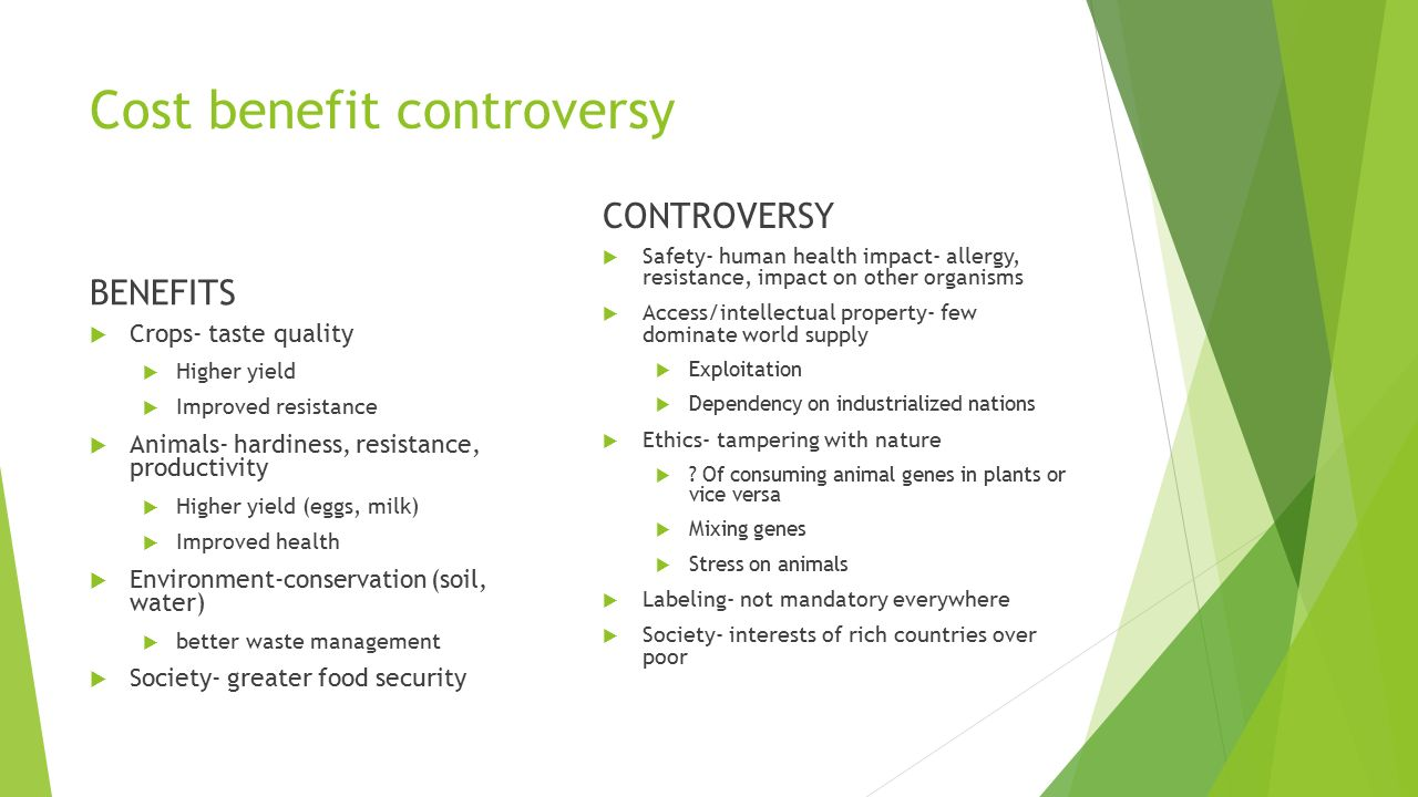 Cost benefit controversy BENEFITS  Crops- taste quality  Higher yield  Improved resistance  Animals- hardiness, resistance, productivity  Higher yield (eggs, milk)  Improved health  Environment-conservation (soil, water)  better waste management  Society- greater food security CONTROVERSY  Safety- human health impact- allergy, resistance, impact on other organisms  Access/intellectual property- few dominate world supply  Exploitation  Dependency on industrialized nations  Ethics- tampering with nature  .