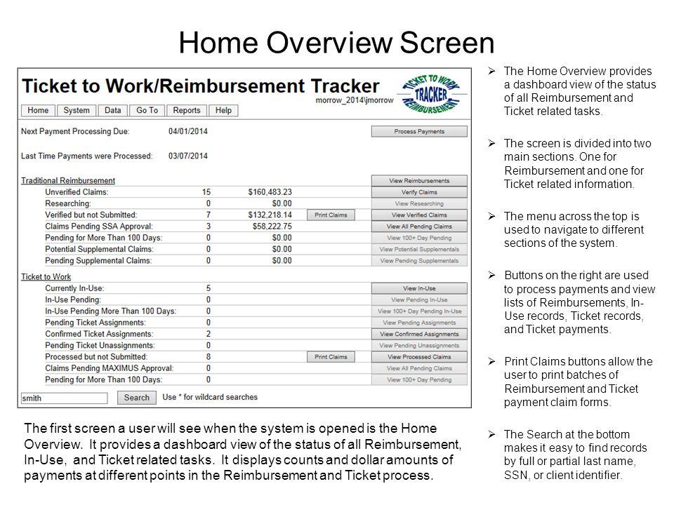 Version Ticket to Work/Reimbursement Tracker  The Ticket to Work