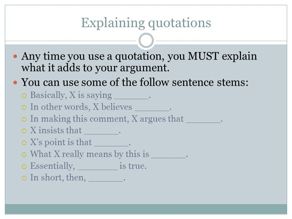 sentence starters for explaining quotes
