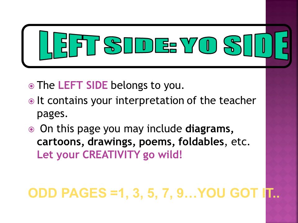  The LEFT SIDE belongs to you.  It contains your interpretation of the teacher pages.