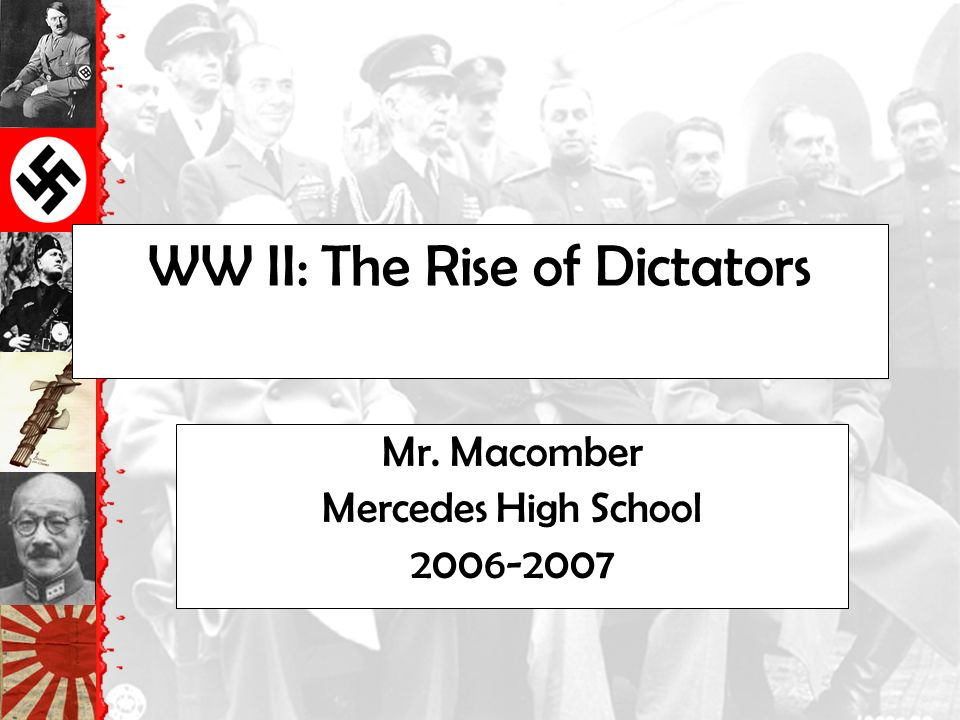 WW II: The Rise of Dictators Mr. Macomber Mercedes High School
