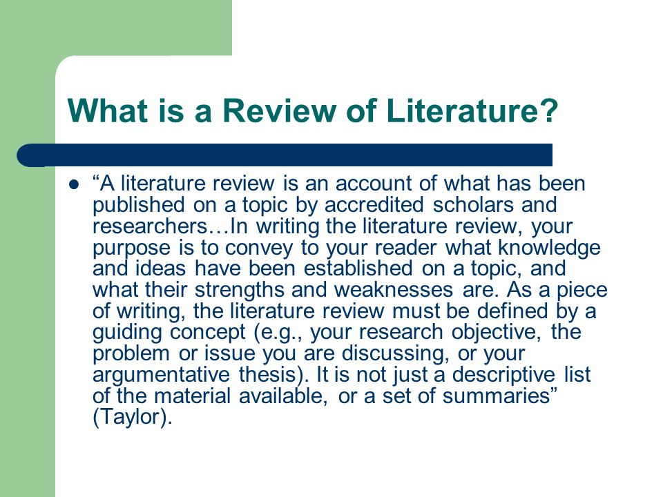 What is a Review of Literature.