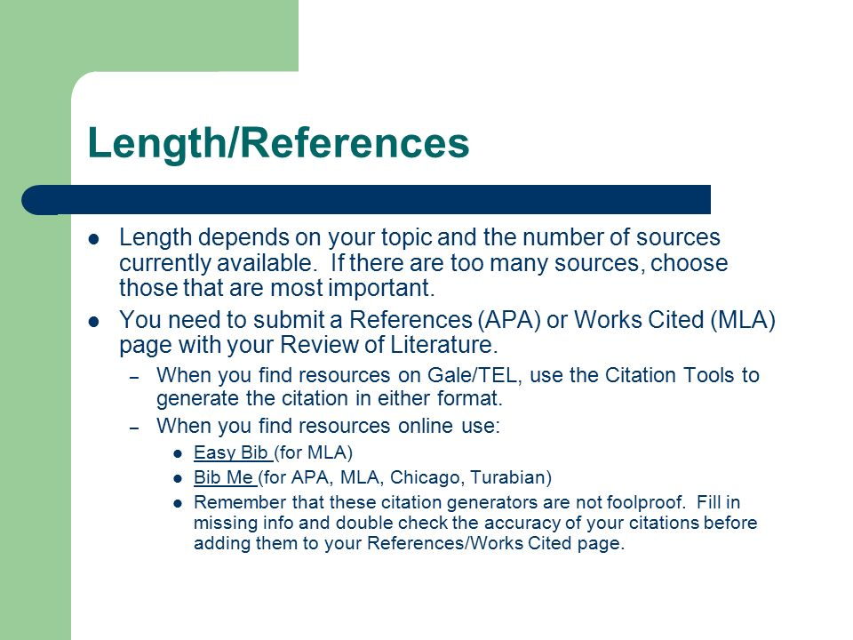 Length/References Length depends on your topic and the number of sources currently available.