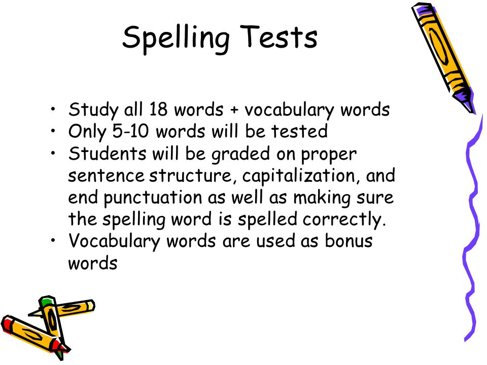 Spelling Tests Study all 18 words + vocabulary words Only 5-10 words will be tested Students will be graded on proper sentence structure, capitalization, and end punctuation as well as making sure the spelling word is spelled correctly.