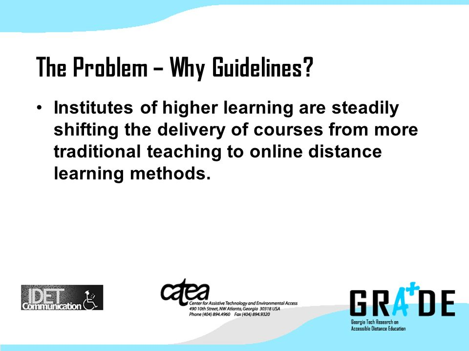 Georgia Tech Research on Accessible Distance Education
