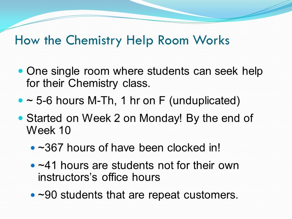 How the Chemistry Help Room Works One single room where students can seek help for their Chemistry class.