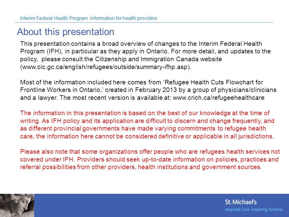 Interim Federal Health Program: information for health