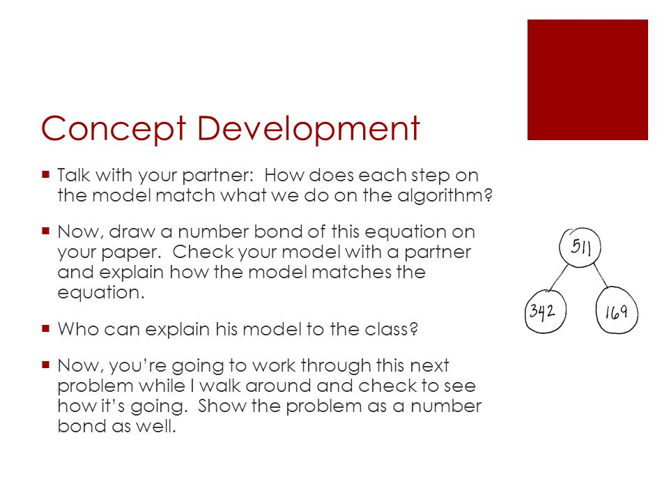 Concept Development  Talk with your partner: How does each step on the model match what we do on the algorithm.