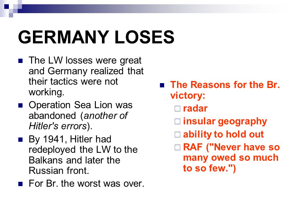 EVENTS OF WWII YEARS OF CRISIS  Operation Sea Lion German Plan to