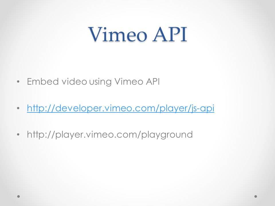 Vimeo API Embed video using Vimeo API