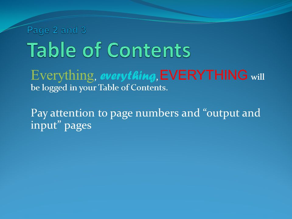 Everything, everything, EVERYTHING will be logged in your Table of Contents.