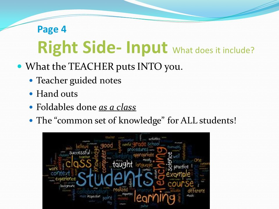 Page 4 Right Side- Input What does it include. What the TEACHER puts INTO you.