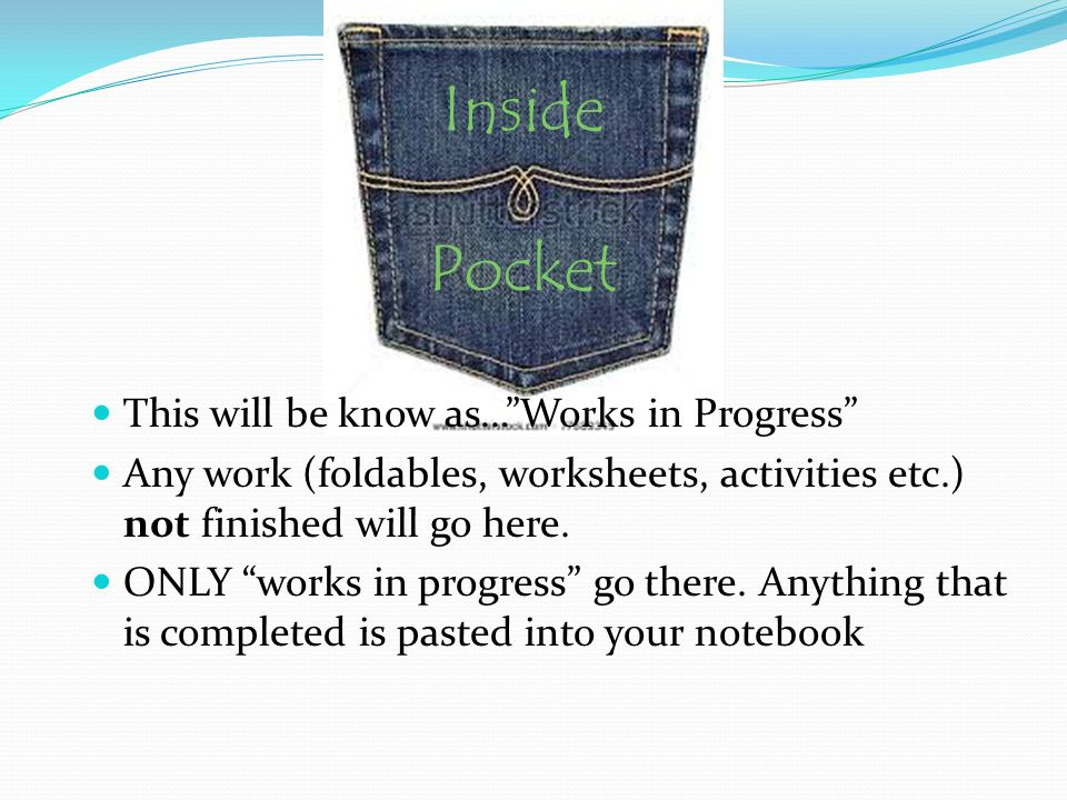 Inside Pocket This will be know as… Works in Progress Any work (foldables, worksheets, activities etc.) not finished will go here.
