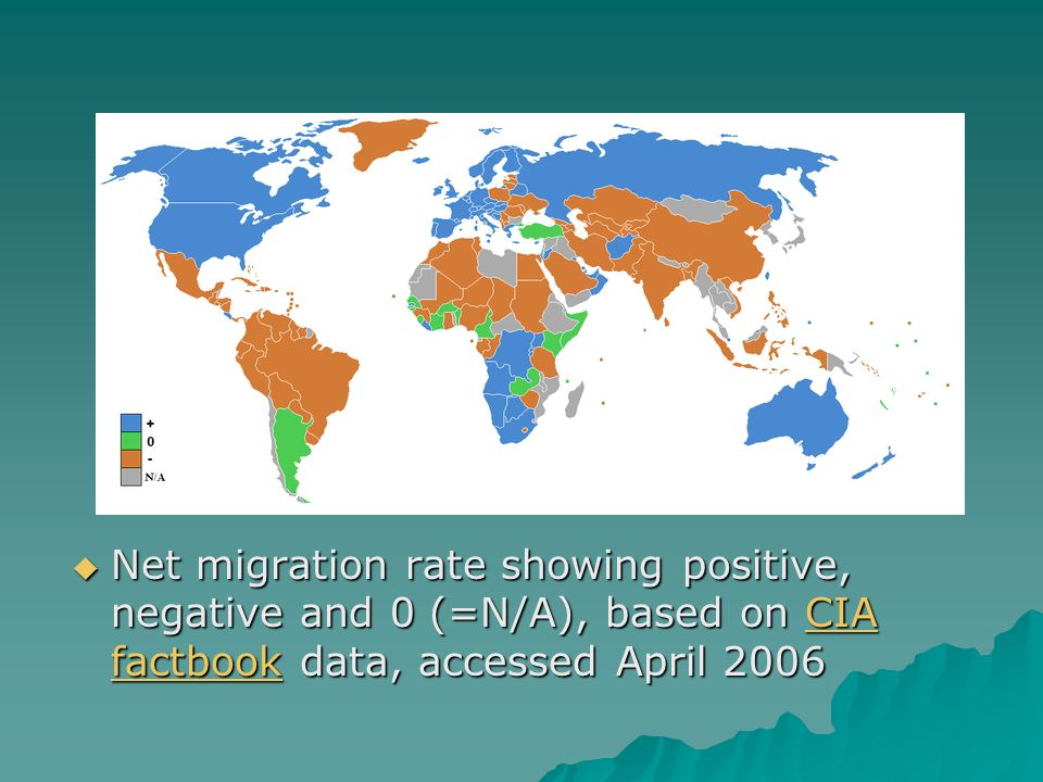  Net migration rate showing positive, negative and 0 (=N/A), based on CIA factbook data, accessed April 2006 CIA factbookCIA factbook