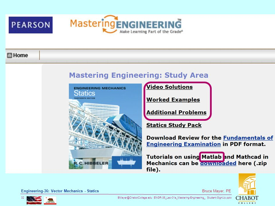 ENGR-36_Lec-01a_Mastering-Engineering_ Student-SignUp.pptx 32 Bruce Mayer, PE Engineering-36: Vector Mechanics - Statics
