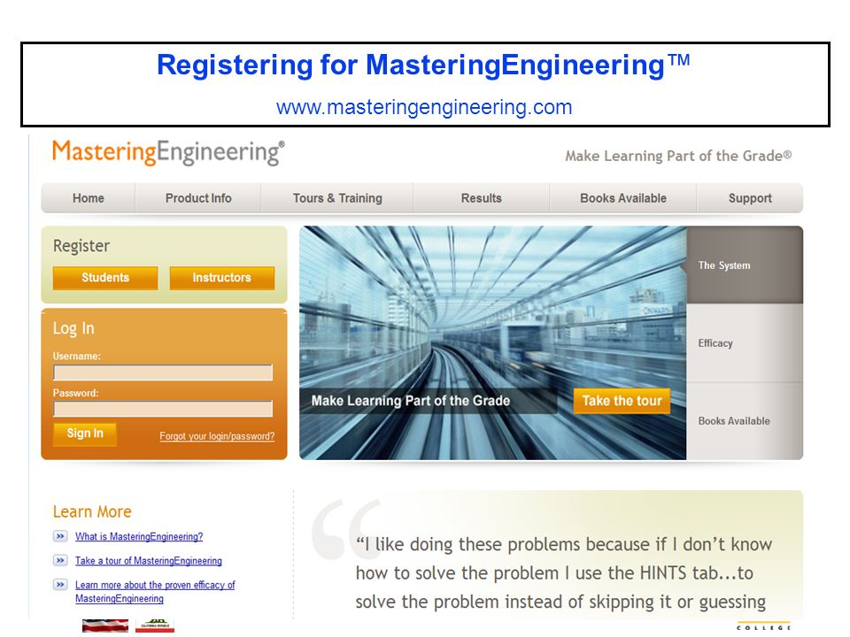 ENGR-36_Lec-01a_Mastering-Engineering_ Student-SignUp.pptx 5 Bruce Mayer, PE Engineering-36: Vector Mechanics - Statics Registering for MasteringEngineering™