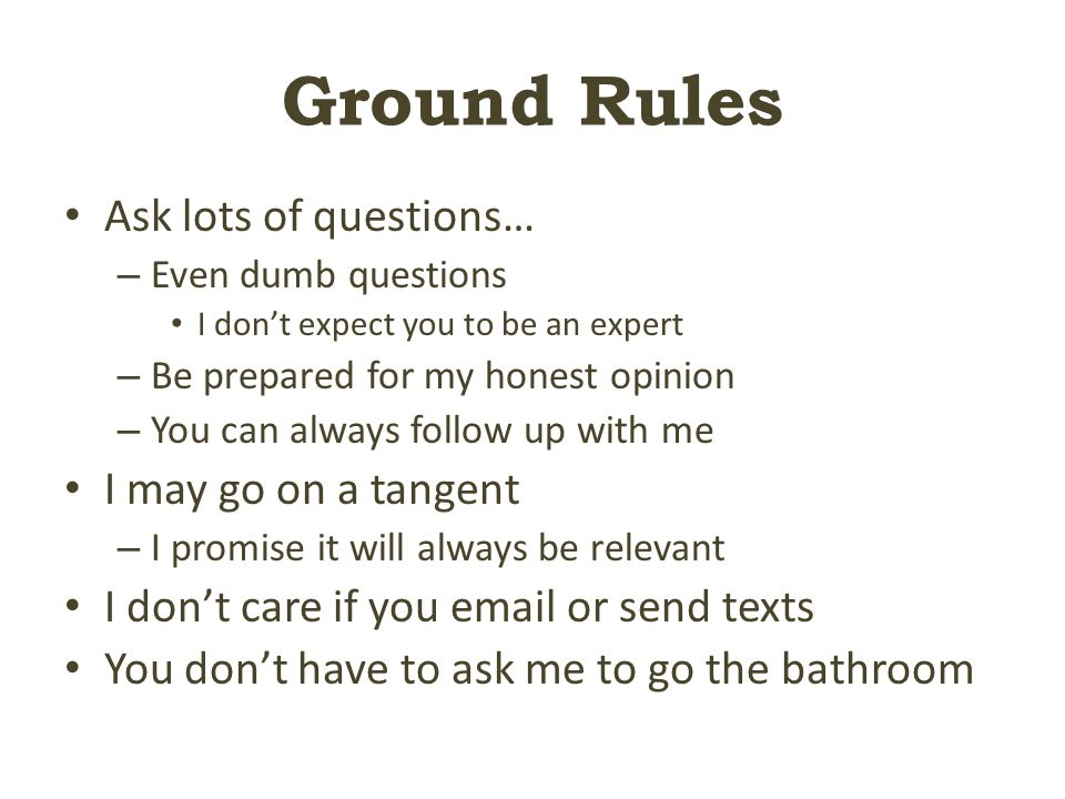 Ground Rules Ask lots of questions… – Even dumb questions I don't expect you to be an expert – Be prepared for my honest opinion – You can always follow up with me I may go on a tangent – I promise it will always be relevant I don't care if you  or send texts You don't have to ask me to go the bathroom