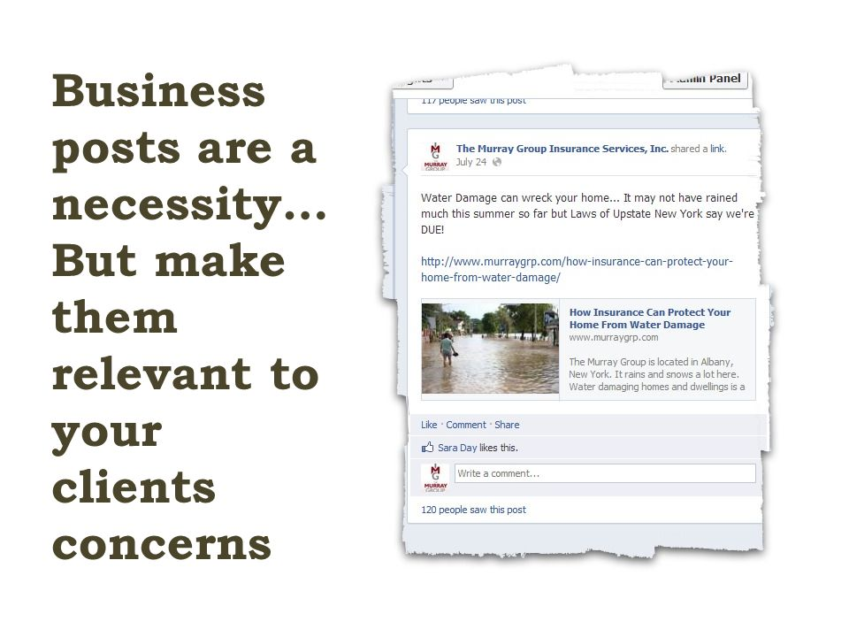 Business posts are a necessity… But make them relevant to your clients concerns