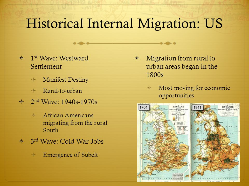 Historical Internal Migration: US  1 st Wave: Westward Settlement  Manifest Destiny  Rural-to-urban  2 nd Wave: 1940s-1970s  African Americans migrating from the rural South  3 rd Wave: Cold War Jobs  Emergence of Subelt  Migration from rural to urban areas began in the 1800s  Most moving for economic opportunities