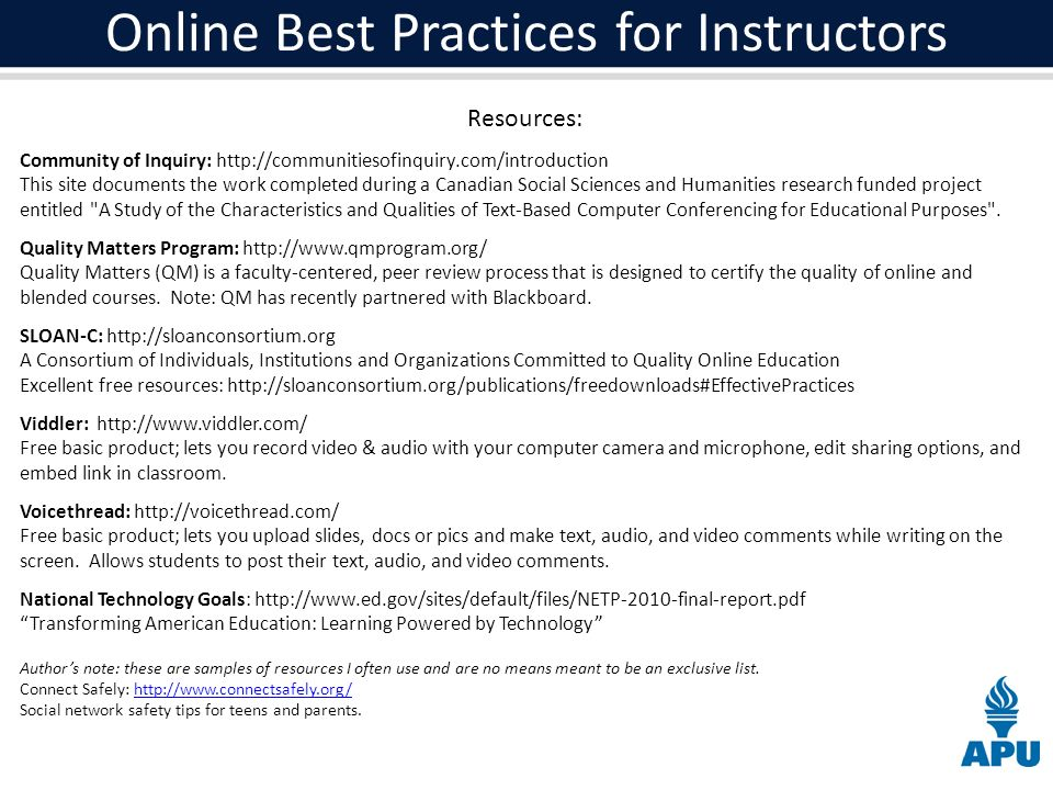 Online Best Practices for Instructors Resources: Community of Inquiry:   This site documents the work completed during a Canadian Social Sciences and Humanities research funded project entitled A Study of the Characteristics and Qualities of Text-Based Computer Conferencing for Educational Purposes .