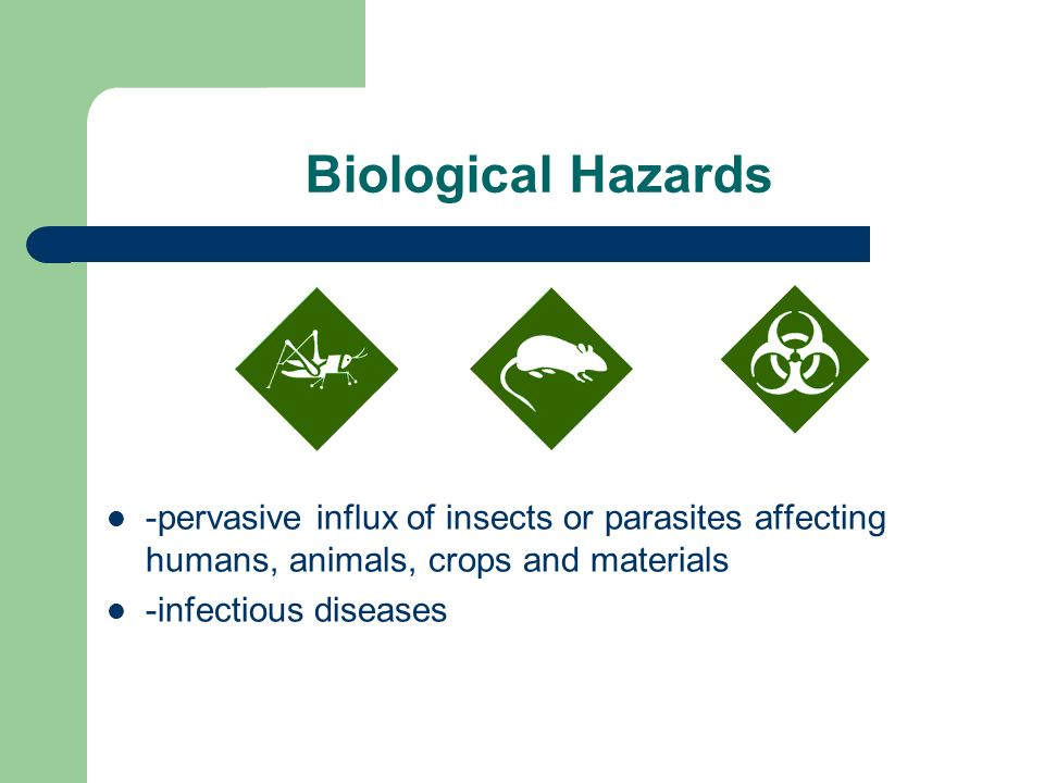 Biological Hazards -pervasive influx of insects or parasites affecting humans, animals, crops and materials -infectious diseases