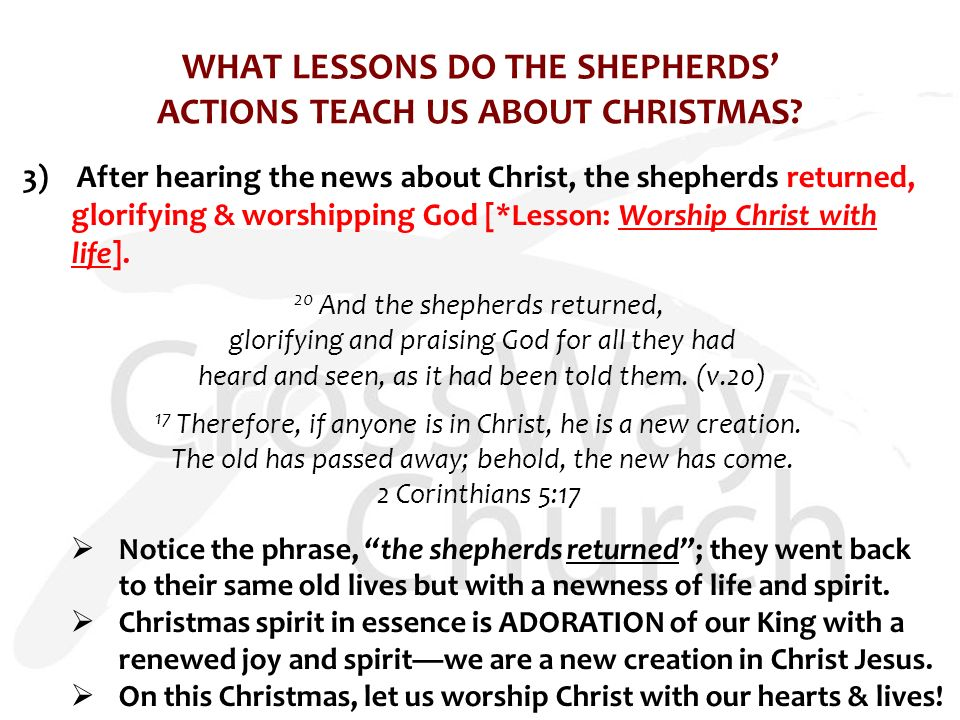 WHAT LESSONS DO THE SHEPHERDS' ACTIONS TEACH US ABOUT CHRISTMAS.
