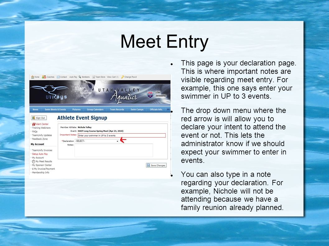 Meet Entry This page is your declaration page.