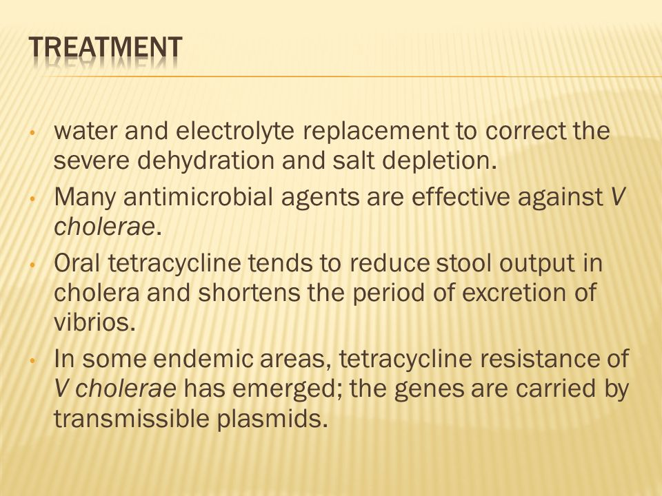 water and electrolyte replacement to correct the severe dehydration and salt depletion.