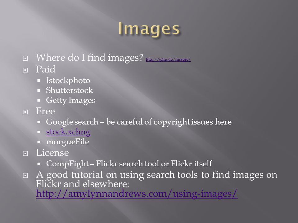  Where do I find images.