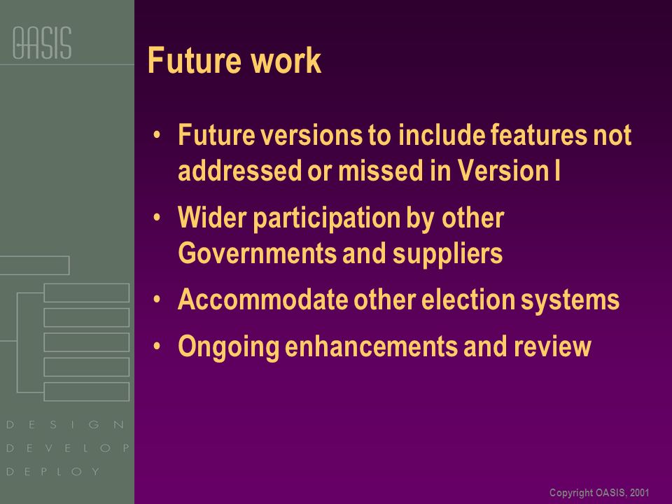 Copyright OASIS, 2001 Future work Future versions to include features not addressed or missed in Version I Wider participation by other Governments and suppliers Accommodate other election systems Ongoing enhancements and review