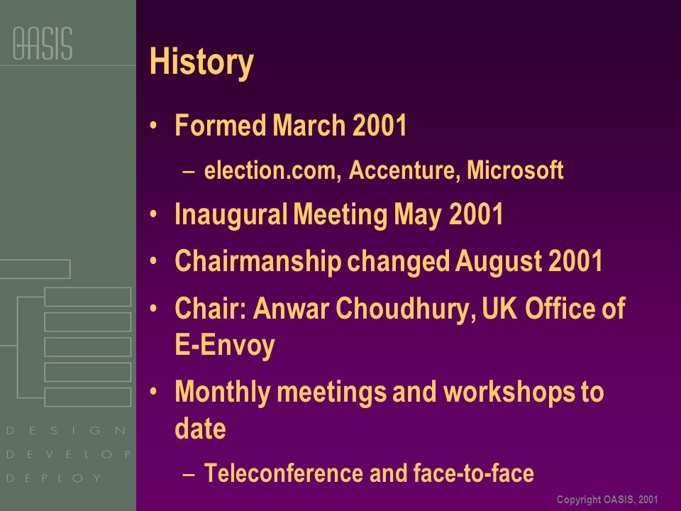 Copyright OASIS, 2001 History Formed March 2001 – election.com, Accenture, Microsoft Inaugural Meeting May 2001 Chairmanship changed August 2001 Chair: Anwar Choudhury, UK Office of E-Envoy Monthly meetings and workshops to date – Teleconference and face-to-face