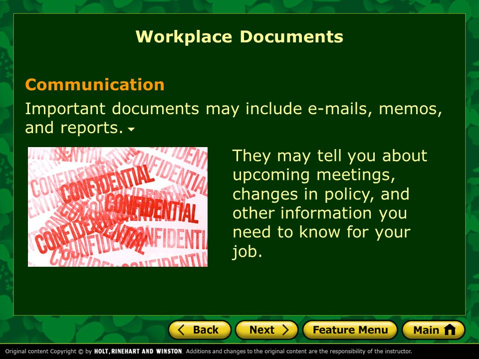 what types of documents will i read in real life feature menu