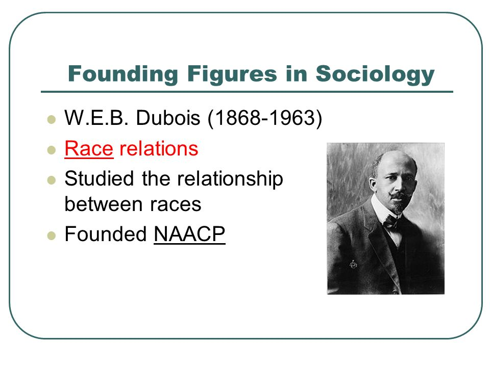 Founding Figures in Sociology W.E.B.