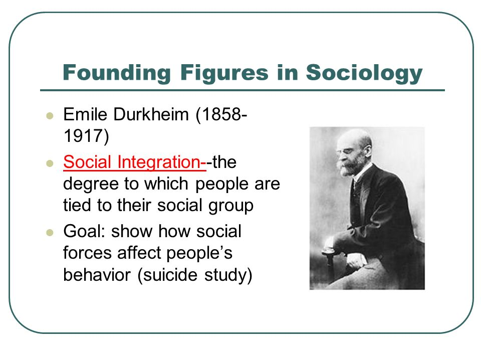 Founding Figures in Sociology Emile Durkheim ( ) Social Integration--the degree to which people are tied to their social group Goal: show how social forces affect people's behavior (suicide study)
