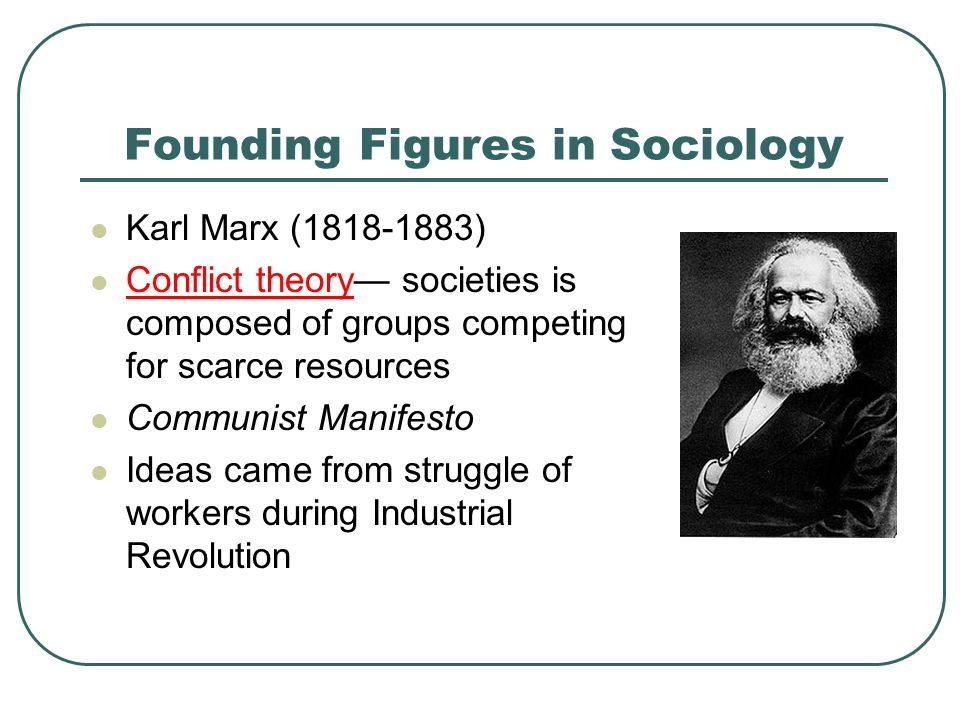 Founding Figures in Sociology Karl Marx ( ) Conflict theory— societies is composed of groups competing for scarce resources Communist Manifesto Ideas came from struggle of workers during Industrial Revolution