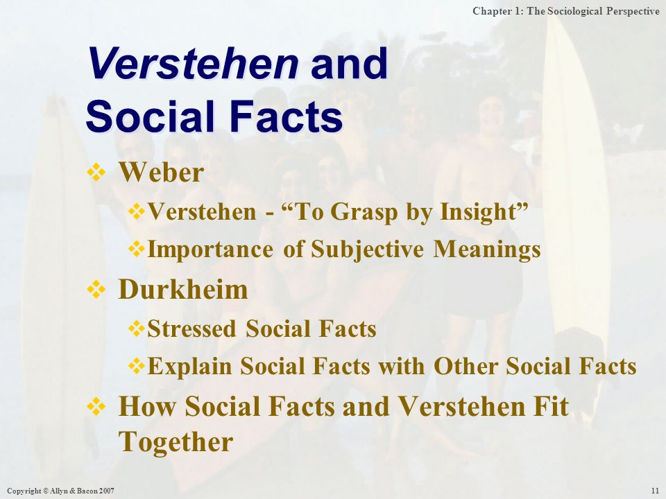 Chapter 1: The Sociological Perspective Copyright © Allyn & Bacon  Weber  Verstehen - To Grasp by Insight  Importance of Subjective Meanings  Durkheim  Stressed Social Facts  Explain Social Facts with Other Social Facts  How Social Facts and Verstehen Fit Together Verstehen and Social Facts