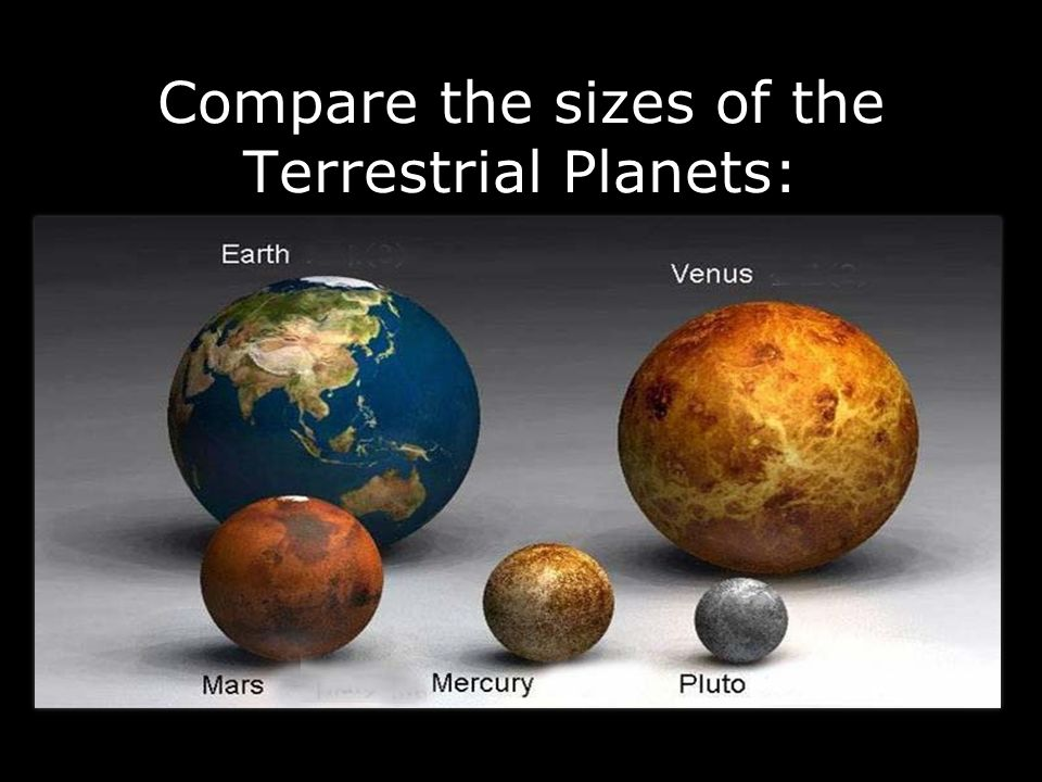 Compare the sizes of the Terrestrial Planets: