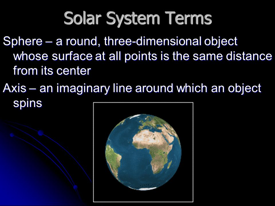 Solar System Terms Sphere – a round, three-dimensional object whose surface at all points is the same distance from its center Axis – an imaginary line around which an object spins