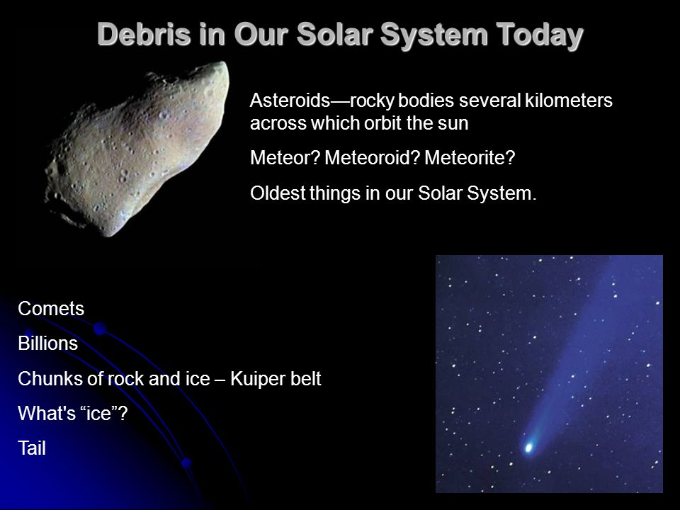 Debris in Our Solar System Today Asteroids—rocky bodies several kilometers across which orbit the sun Meteor.