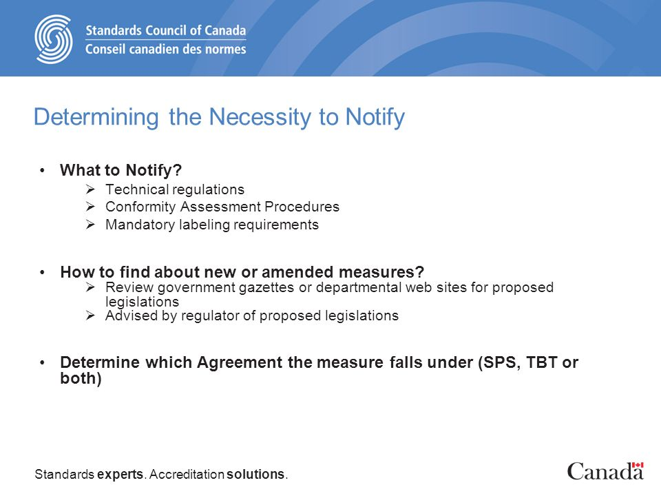 Standards experts. Accreditation solutions. Determining the Necessity to Notify What to Notify.