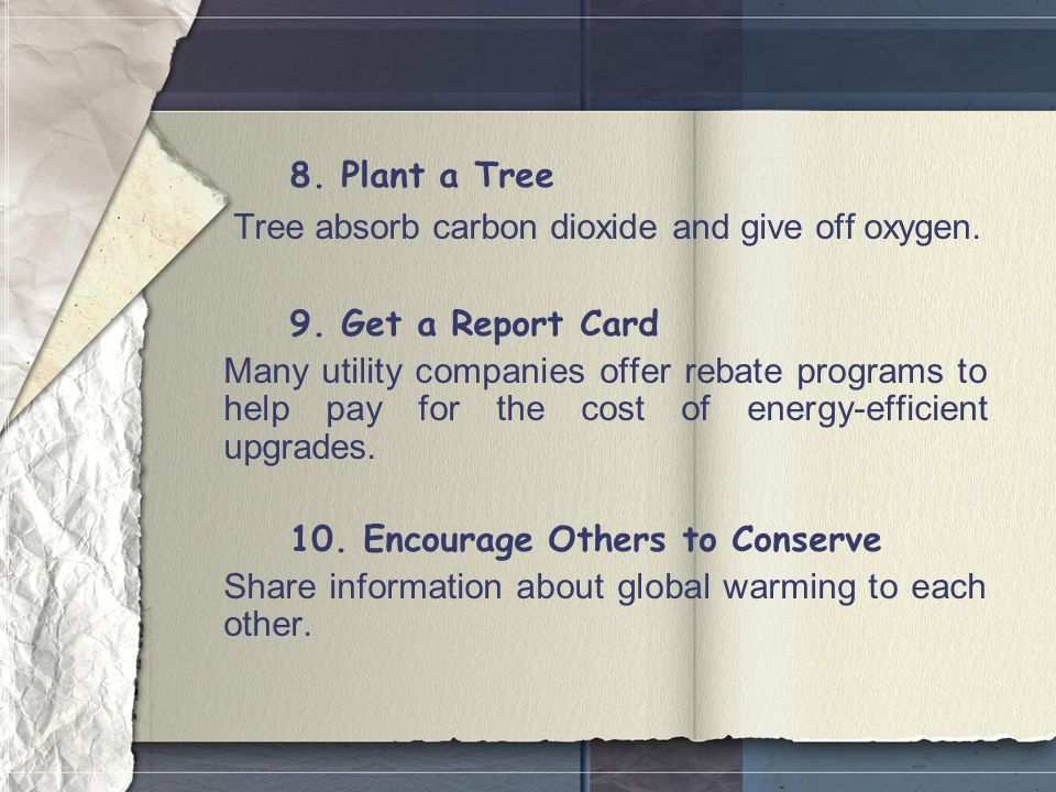 8. Plant a Tree Tree absorb carbon dioxide and give off oxygen.