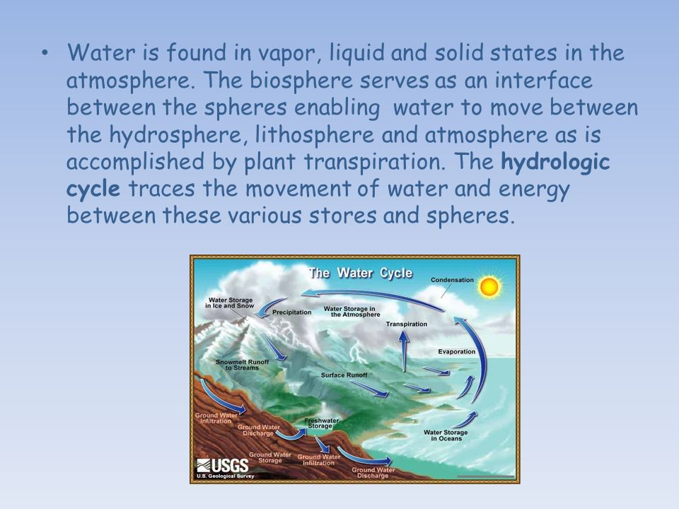 Water is found in vapor, liquid and solid states in the atmosphere.